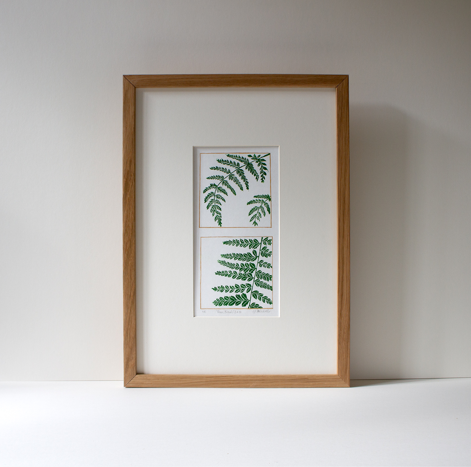 Fern Fronds I & II  linoprint