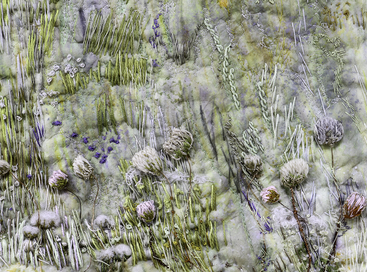 Meadow  -  machine and hand embroidery on painted abaca tissue -