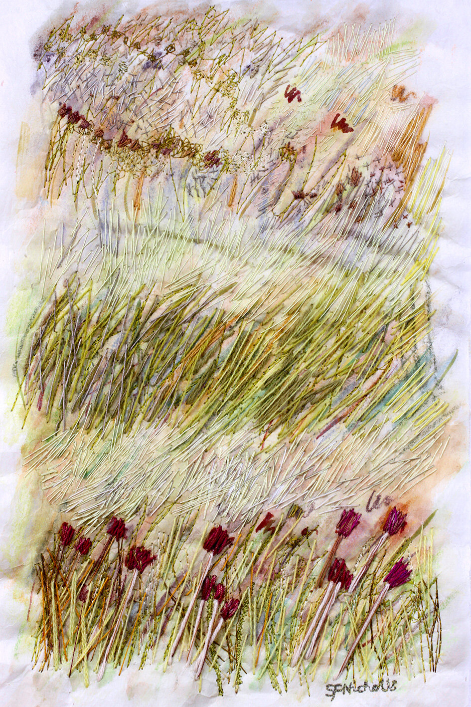 Abstract Grasses  -  hand and machine embroidery on painted abaca tissue