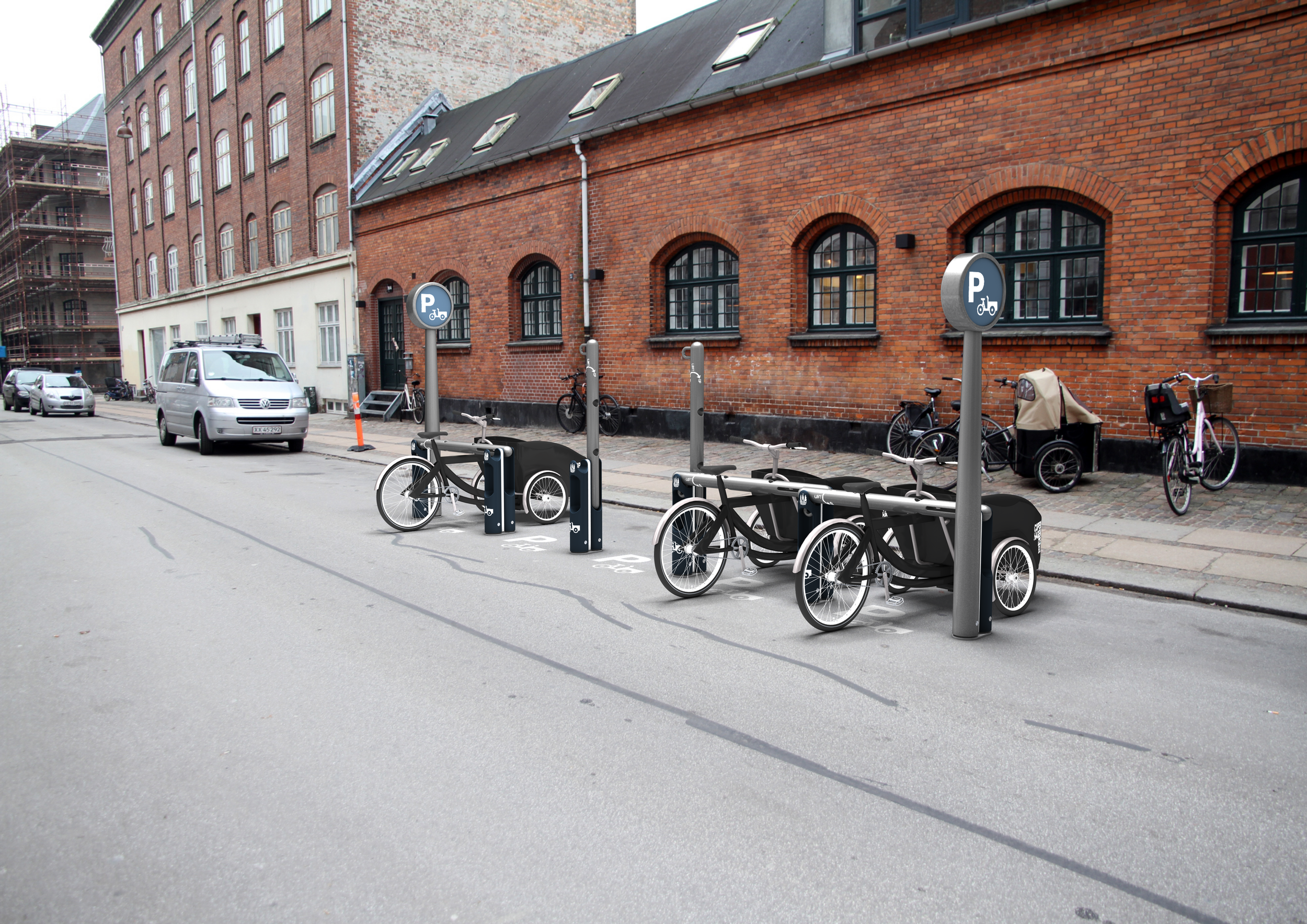 Cargo Bike Parking - Copenhageners have 40,000 cargo bikes and these workhorses are increasing in popularity around the world. Secure parking remains an issue and one without any solid solutions. Until now. Mikael raised the bar when he designed this on-street cargo bike rack.Status: Protoype and testing