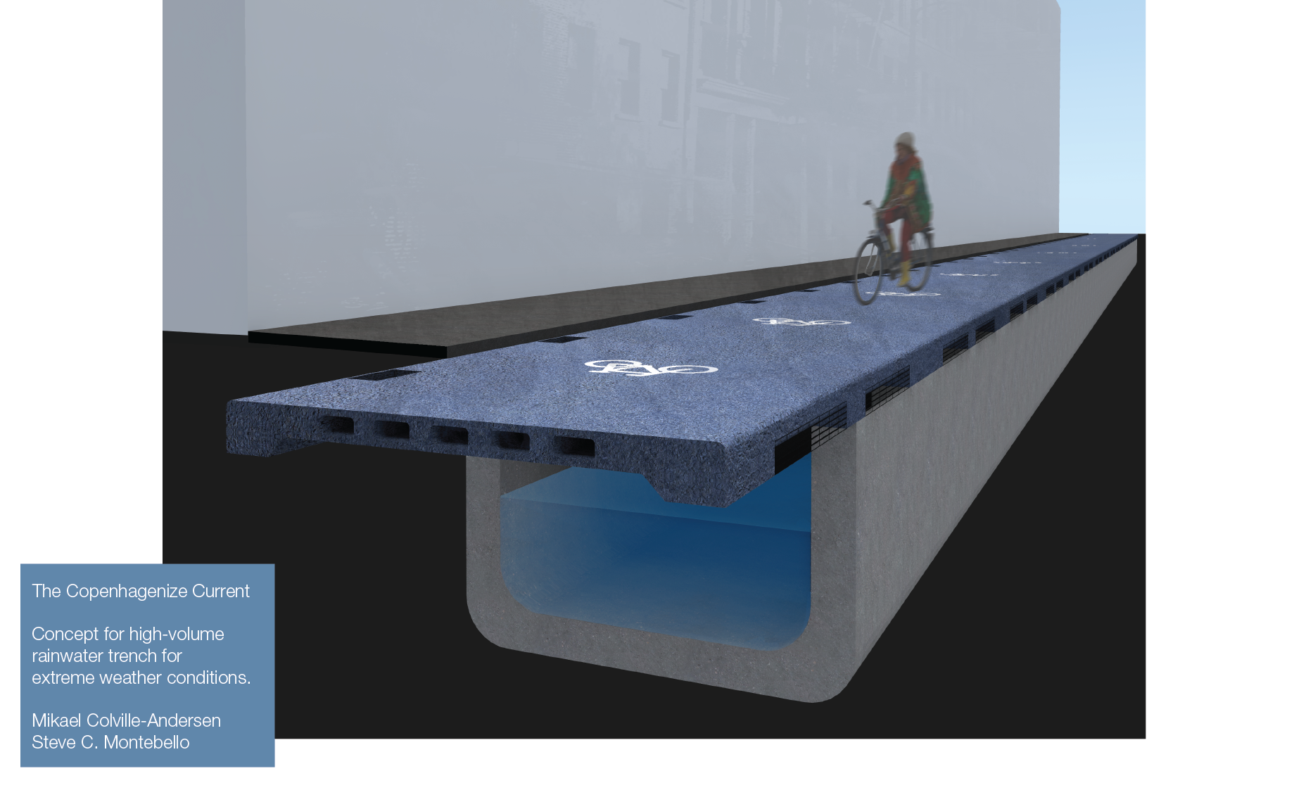 Stormwater Drainage Meets Bicyle Urbanism - Copenhagen, like many places, sufferes from excessive rainfall as a result of climate change. Flooded streets are a regular occurance. The sewers can't handle the volume. So how about a cut and cover solution to catch the stormwater, lead it away and create space for excellent bike infrastructure on top?Status: Concept