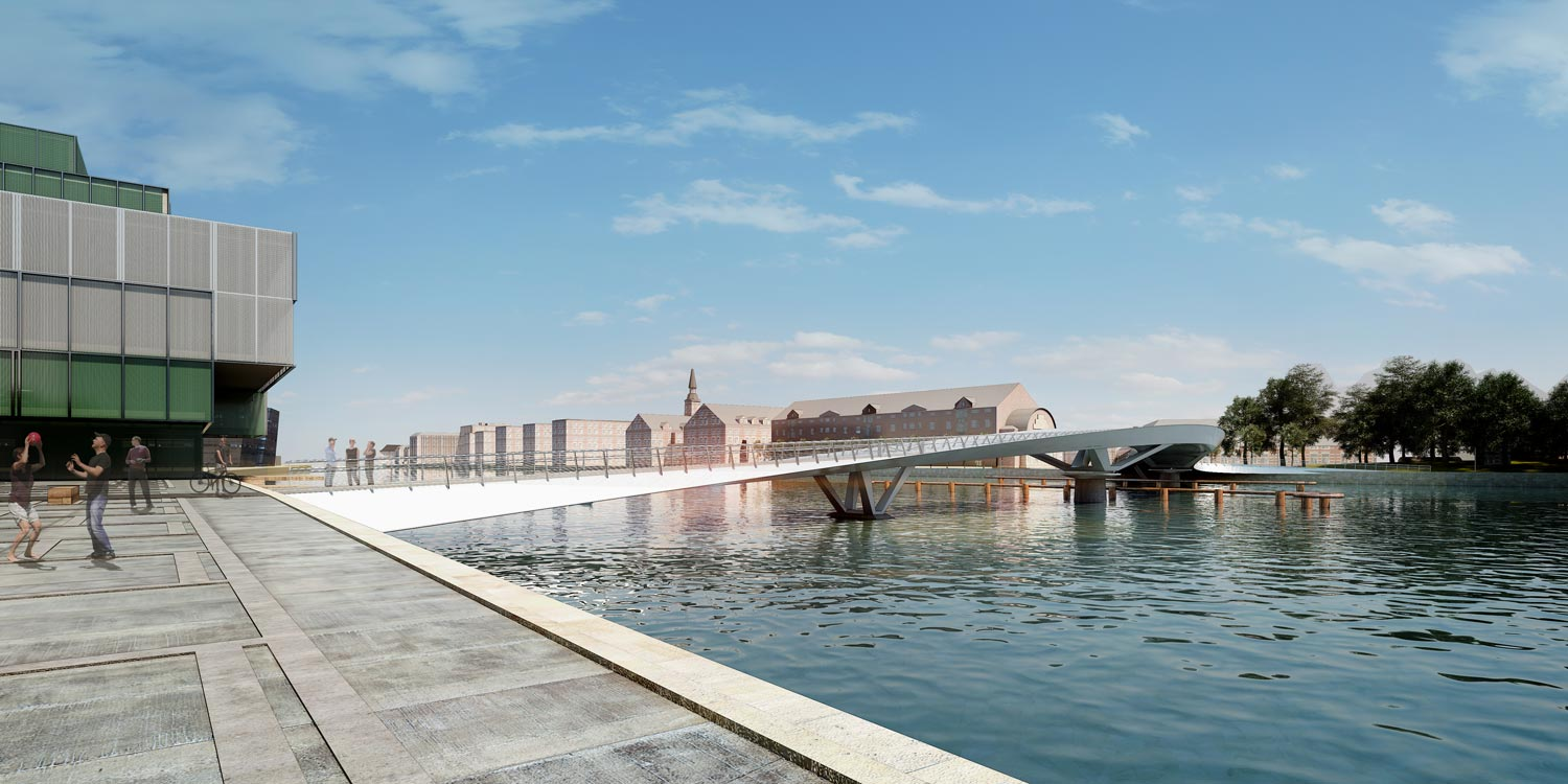 As part of Realdania's BLOX development, the foundation has announced Langebrogadebroen, a new pedestrian and bicycle bridge over the harbour