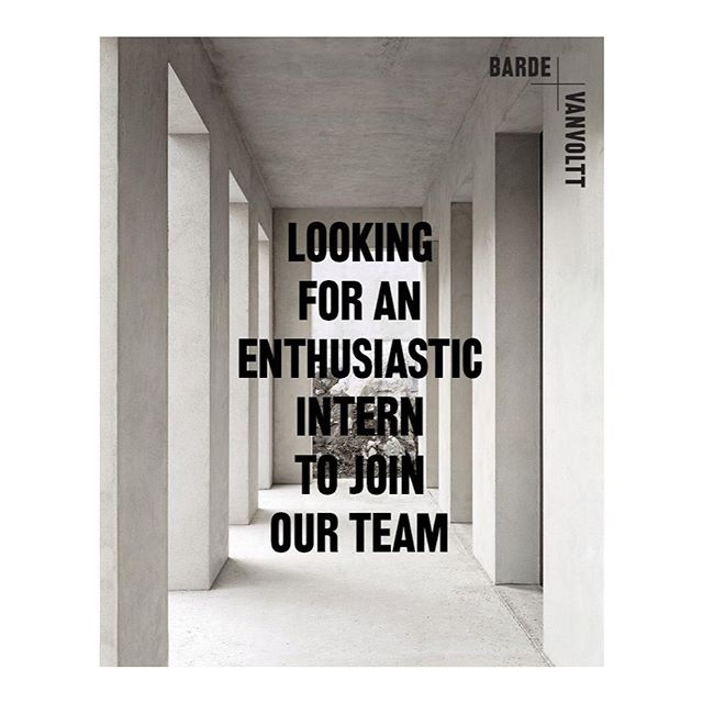 Hello! We are looking for an enthusiastic intern to join our team. • We're after someone who is: • Enthusiastic and talented • Is pro-active and hands-on • Wants to work on some of the coolest interior design projects around the world • Has a captivating portfolio and some experience in using SketchUp & VectorWorks • Can make a mean espresso.  Keen? Send your resume, portfolio, and a short personal note to: valerie@barde-vanvoltt.com