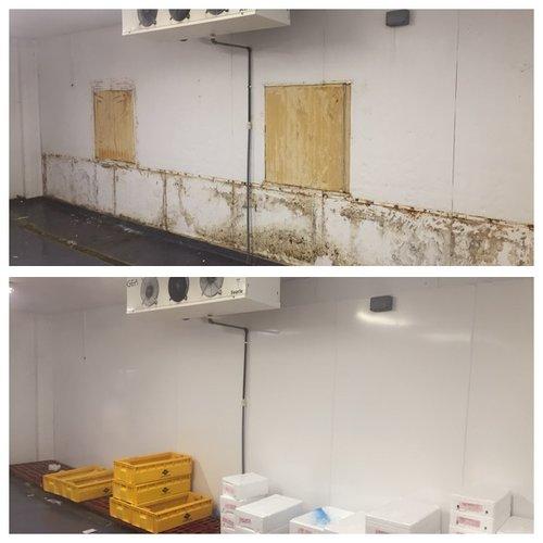 新的冷藏室壁面-之前和之后  后