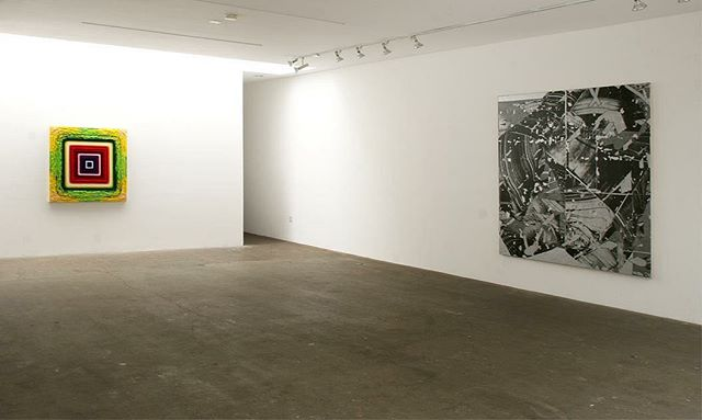 """From a show a few years ago in LA. @johnschlue on the left """"Plastic Acid Wave Quake"""" 2011. My painting on the right, """"Untitled"""", 2010. Show from 2012 at Western Project."""