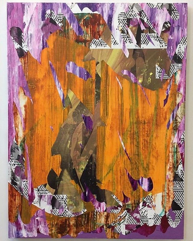 Made this just before moving to Rhode Island. Was a weird painting for me at the time.  Makes total sense now. Untitled (V10001) 2014, acrylic on weathered sign vinyl, 48x36 inches.