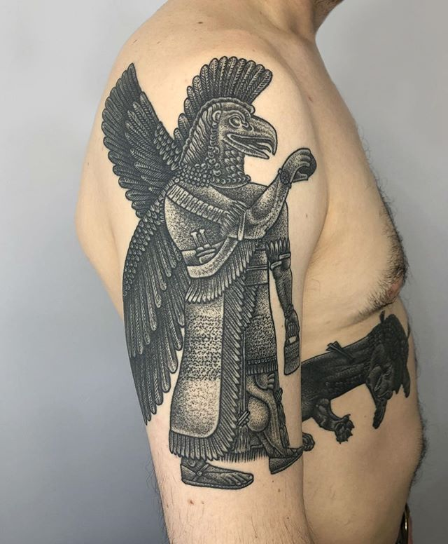Healed 1 year ☀️ Uannedugga is an ancient sage and demi-god who imparts wisdom and intelligence (Assyrian / Sumerian region). Thanks Hanley! • dukkhatattoo@gmail.com
