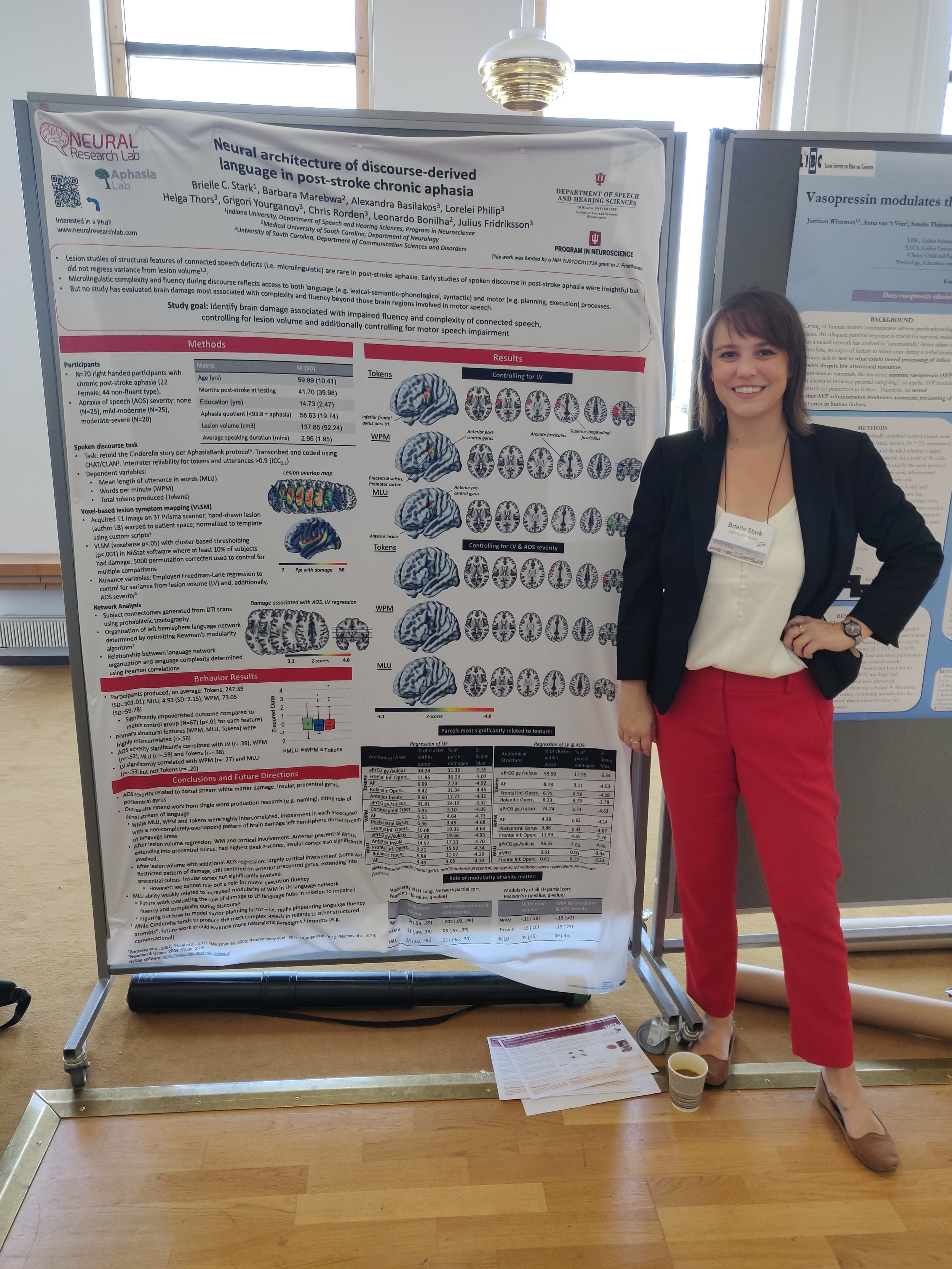 Dr. Stark presents her work on the neuroscience of discourse in aphasia, in collaboration with members of the Center for the Study of Aphasia Recovery team (cstar.sc.edu)