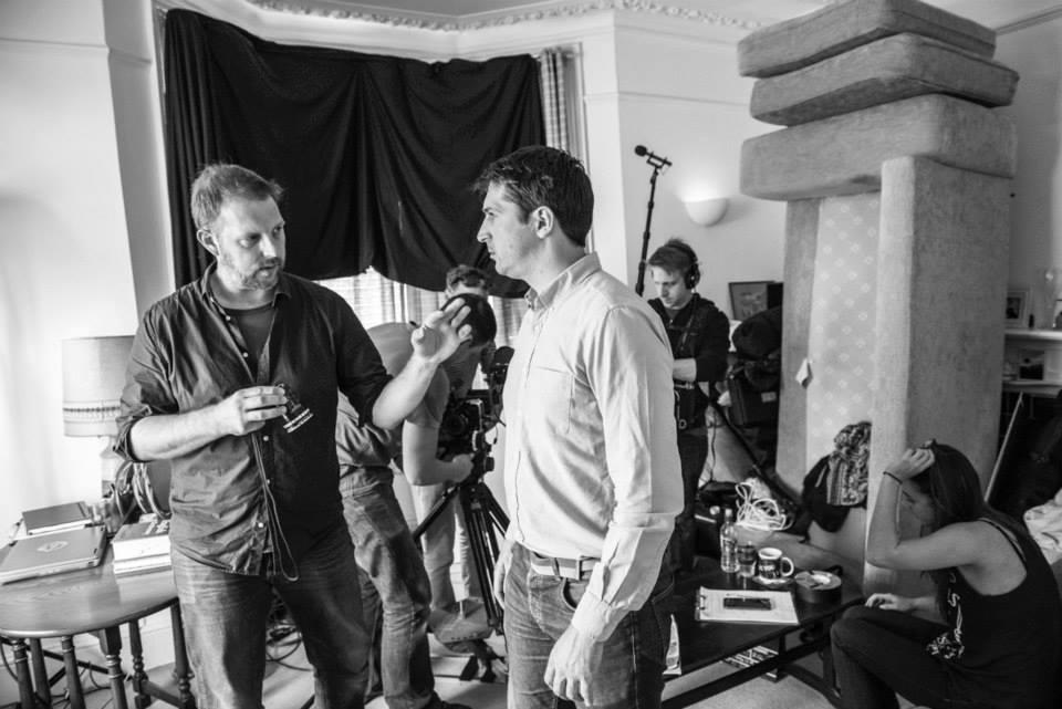 Simon on set with Peter Halpin.