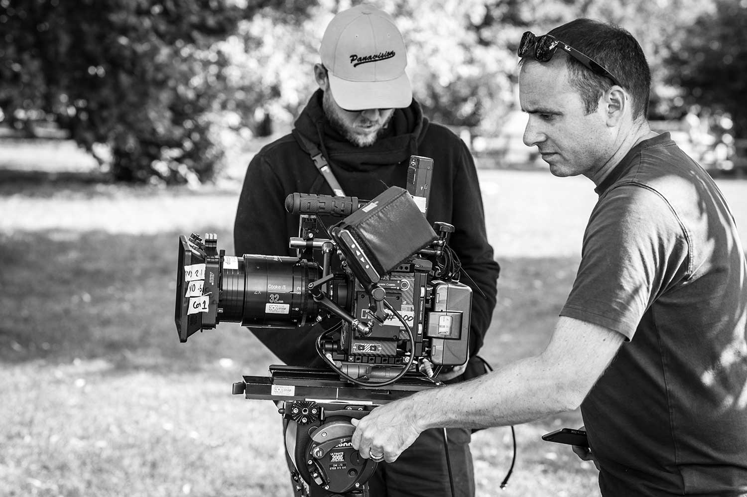 Director of Photography Matt Shaw (right) and Focus Puller Mike Linforth set up a shot.