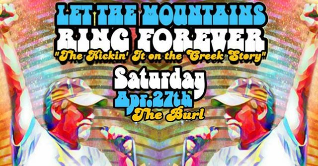 """Super excited for the screenings of our screenings of """"Let the Mountains Ring Forever: The Kickin' it on the Creek Story'"""" this weekend. Come see us Saturday at @theburlky and Sunday at the Steam Engine Pizza Pub!"""