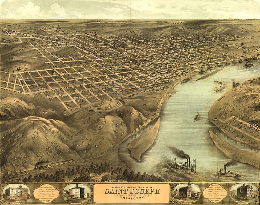St. Joseph, Missouri - 1869 - After Lewis and Clark. the Pony Express and California Gold Rush days.