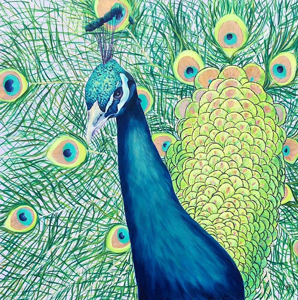 Giant Peacock Print Punch Pour Paint