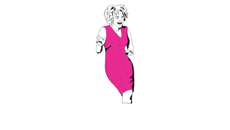 Akilah-pink-dress-female-comedy-writer.jpg