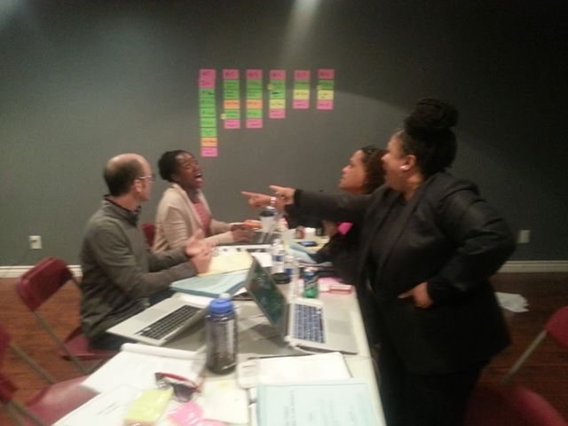 Greg Fitzsimmons, Frances Callier, Angela V. Shelton, and me in the Writers Room on set.