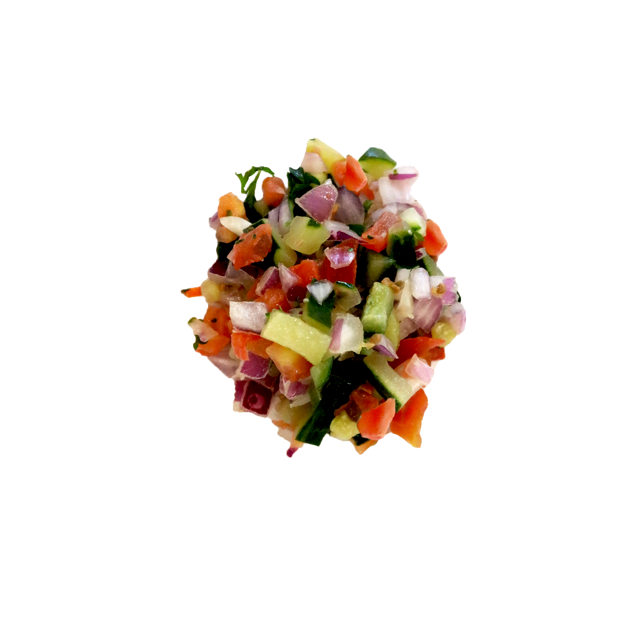 Mediterranean Chopped Salad - A mix of hand chopped cucumbers, tomatoes, onions and Fresh herbsVegan | Gluten-Free