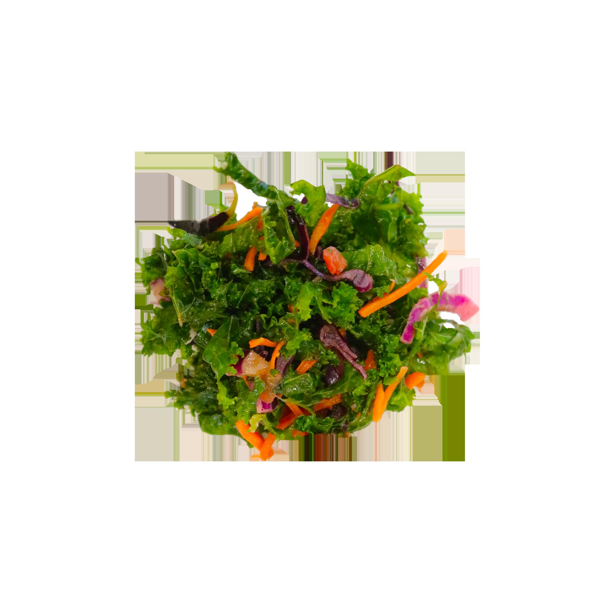 Pomegranate Kale Salad - A mixture of hand chopped tomato, kale, carrots, red cabbage with salad oil, lemon juice, pomegranate vinagret and a dash of salt.Vegan | Gluten- Free