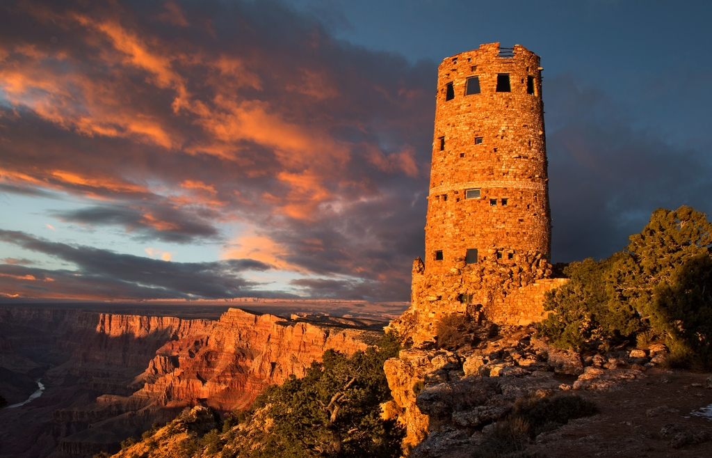 Desert View Watchtower at Sunset; Grand Canyon by    Alan Amati
