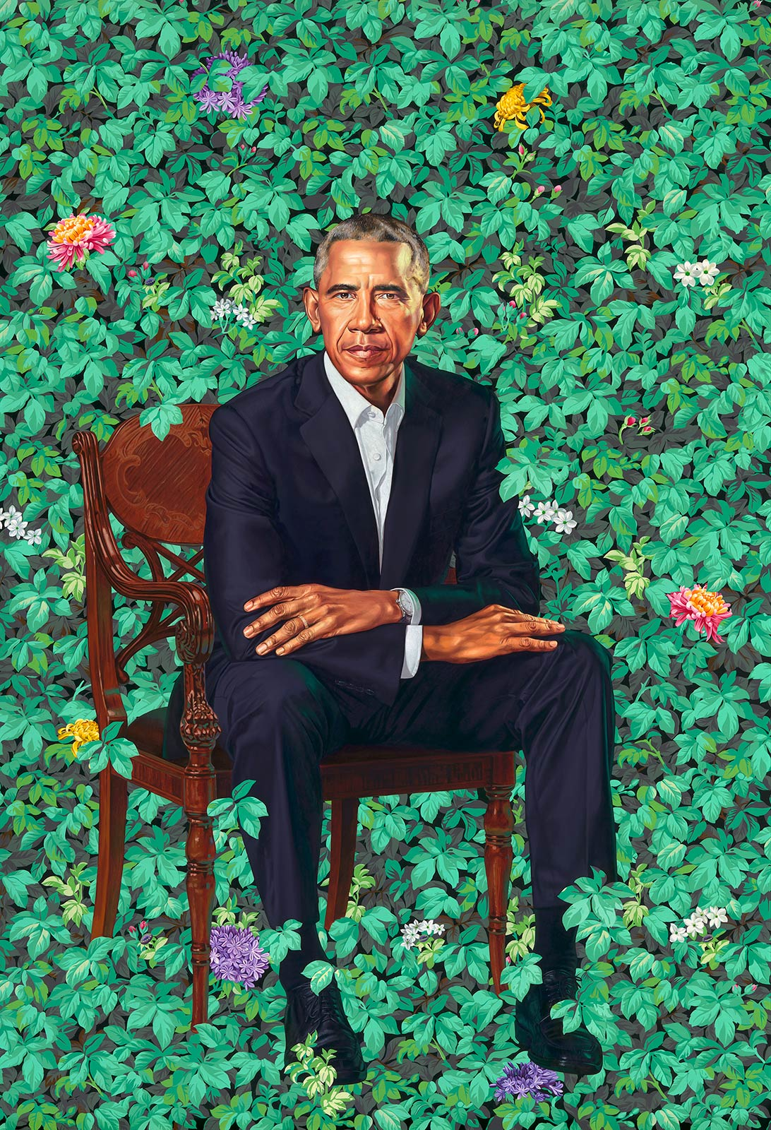 Barack Obama  by Kehinde Wiley 2018. National Portrait Gallery, Smithsonian Institution.
