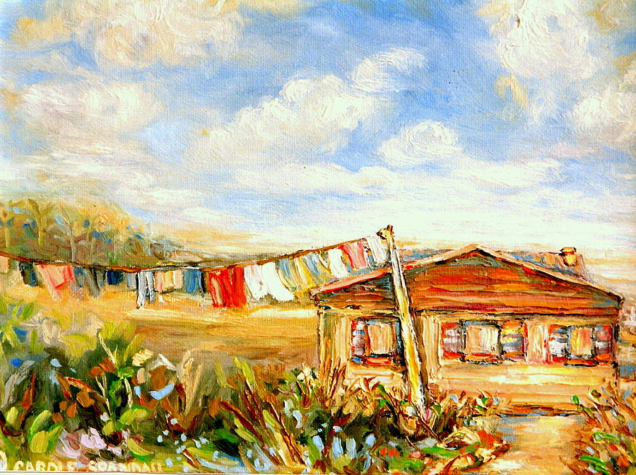 Gaspe Quebec Clothesline by  Carole Spandau