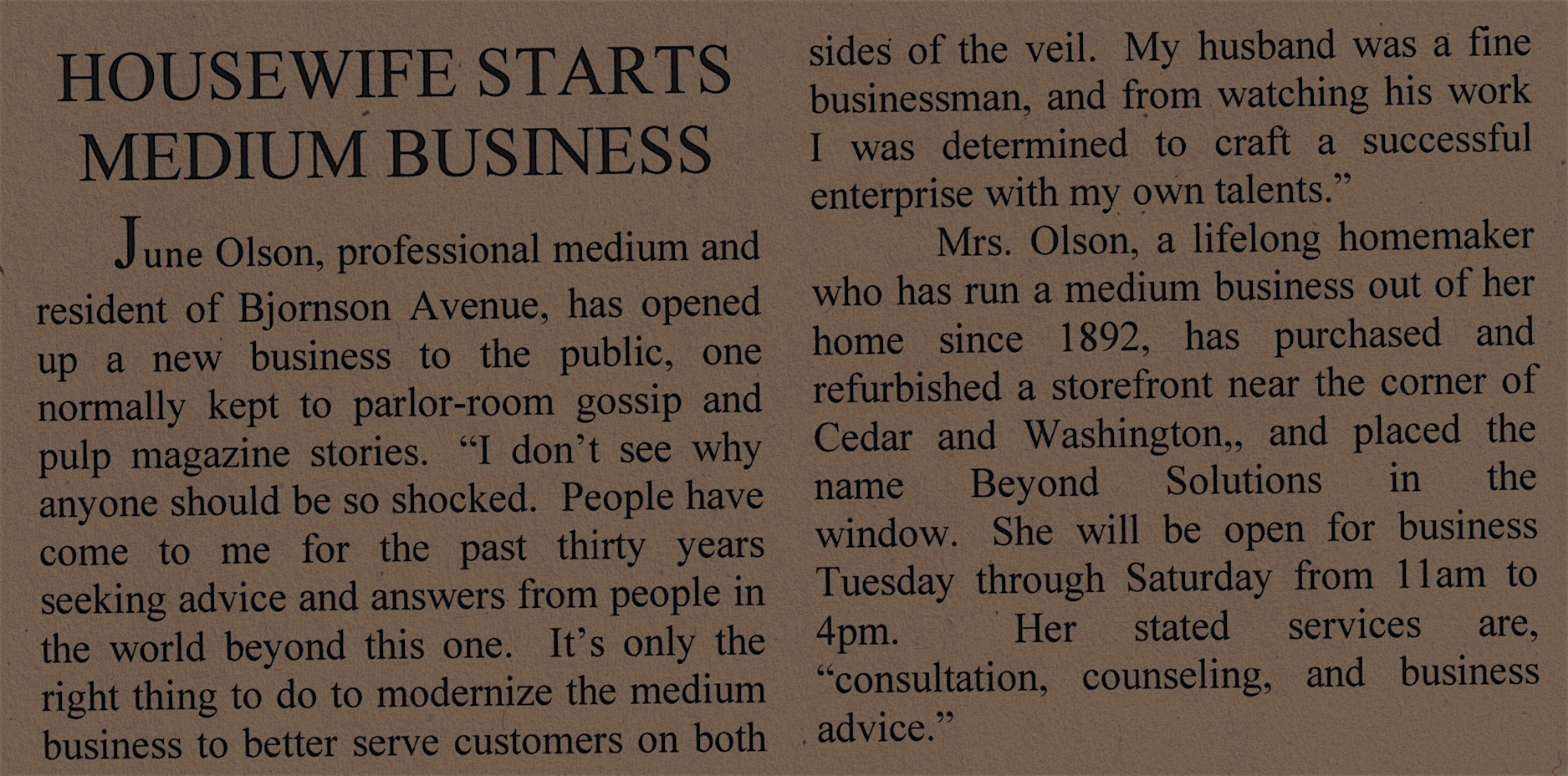 Article announcing the opening of Beyond Solutions in 1922