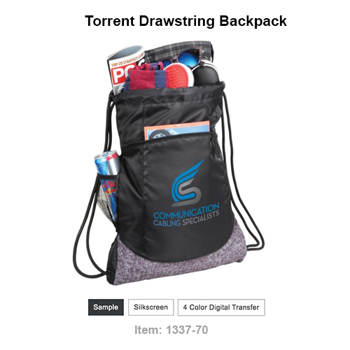 Open main compartment with drawstring closure. Zippered front pocket with accent stitched. Hidden pull out mesh water bottle pocket. On trend graphic print on bottom.