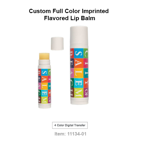 If you are looking for a full color wrap logo on a flavored SPF 15 lip balm, this is the product. Your brand can be labeled on 6 different flavors:  •Peppermint,  •Natural,  •Cherry, •Spearmint,  •Tropical  or •Vanilla  Each custom imprinted full color lip balm is safety sealed.