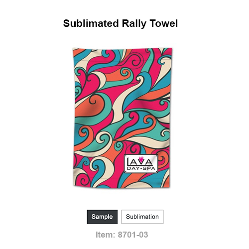 """Hand Towel with full sublimation. measures 11"""" x 18"""", made of 55% microfiber polyester / 45% polyethylene."""