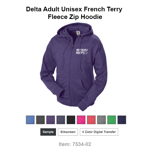 Customize this tagless Delta Adult Unisex French Terry Fleece Zip Hoodie from Bagmasters by adding your silkscreen design to the left chest. Customize now!   Go to item