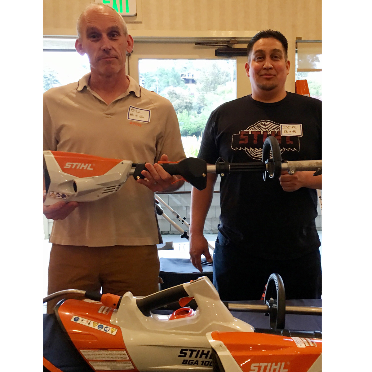 Bill Brice, owner of B&B Small Engine Repair and Zeke with their newest Stihl tools