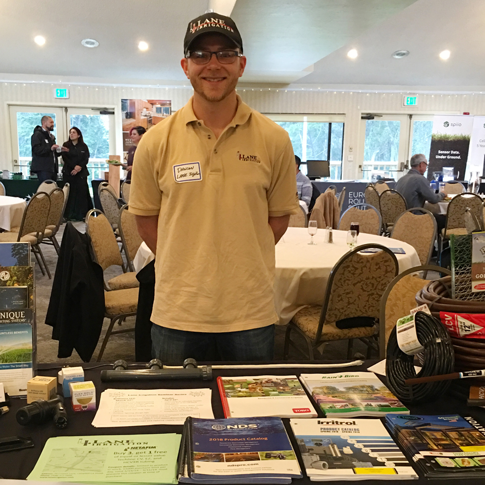 Dawson Bean of Lane Irrigation, manned a welcoming booth with lots of literature.