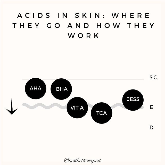 "So here goes my post on chemical peels in skin.  Please note the diagram is meant to be general and is not exactly to scale, there are many factors that can effect depth of peels. I could write three novels to support this post, so I am only really scratching the surface!💕💕💕 The immune response is what matters most with all peels, and is how we get the results we want. ✨✨✨⠀⠀⠀⠀⠀⠀⠀⠀⠀ AHAs: Alpha hydroxy acids are the most versatile acids. They can treat almost any skin type and condition. AHAs work by breaking the desmosomes that hold skin cells together, causing cells to shed and a ""controlled injury"" to skin. This injury stimulates skin to repair itself, resulting in collagen, elastin, + GAG production in the dermis, and the renewal of healthy epidermal cells. BHAs: Salicylic acid is the main BHA. Sal acid loves oil, and cleans up the follicle by dissolving sebum and keratin.  Vitamin A: Vit A peels are like a superdose of retinol that targets and removes damage. It dissolves excess skin proteins. TCA: denatures proteins, causing tissue death, as exhibited by true frost. Skin repairs after an aggressive peeling period. Jessner: Can treat most skin conditions that are candidates for a chemical peel. More aggressive than the AHAs, it dissolves excess sebum, protein buildup, denatures proteins.  The thing all peels have in common is the effect on the skin's immune system, which is everything with peels. 👌👌👌⠀⠀⠀⠀⠀⠀⠀⠀⠀ A few things we need for the peel to work: Low pH, breaking a cellular bond, and/or denaturing protein.  Once exposed to the peel, key players are activated: MMP1: breaks down damaged collagen to be replaced with new  Caspase 9: Causes death of skin cells with DNA damage Substance P: Mediator of inflammation. When substance P is produced, inflammation is reduced Growth Factors: natural growth factors are released, stimulating cell renewal and fibroblast activity. There are many more, but these are the common thread between them all. (Cont. in comments)"