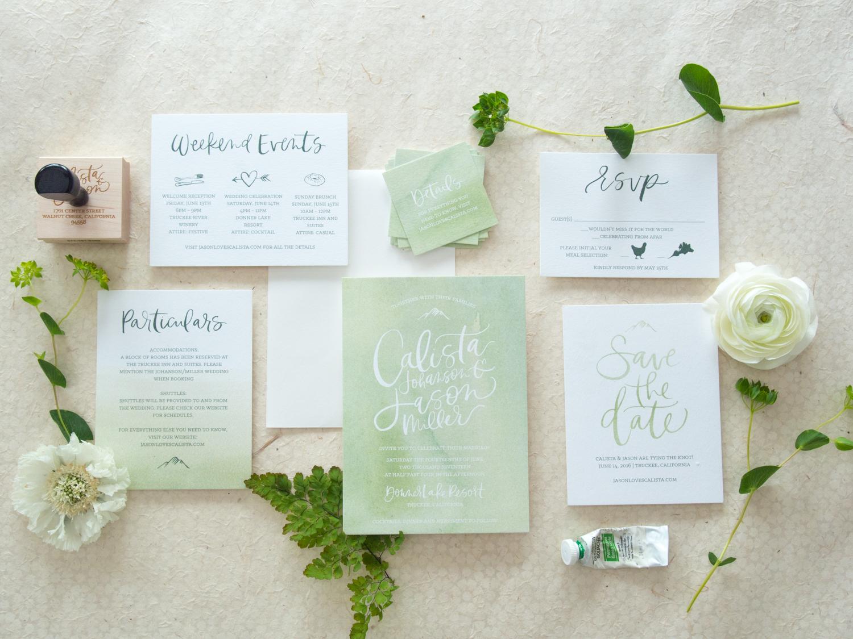 Unique Watercolor Wedding Invitation from Bright Room Studio