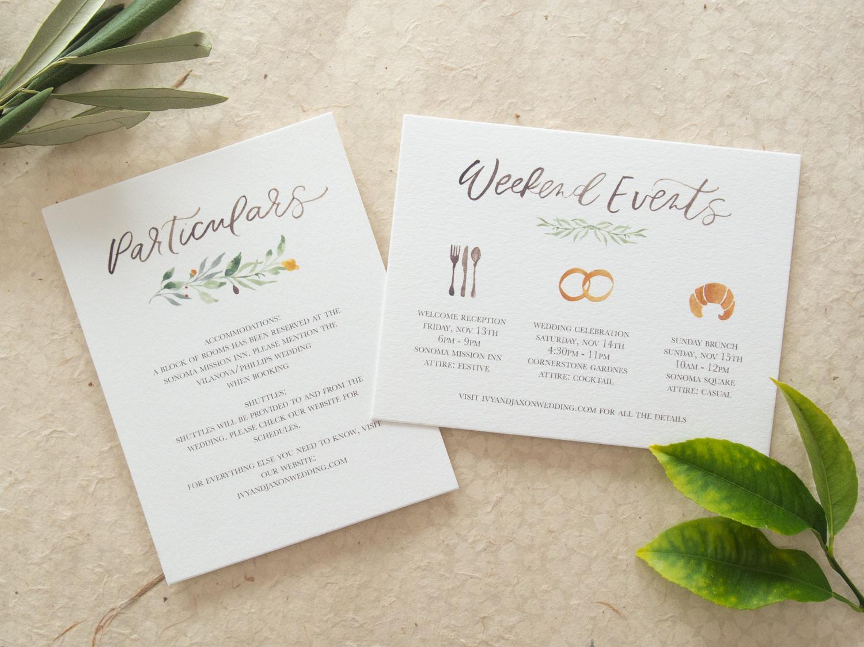 Unique Particulars Card for Romantic Invitation Suite