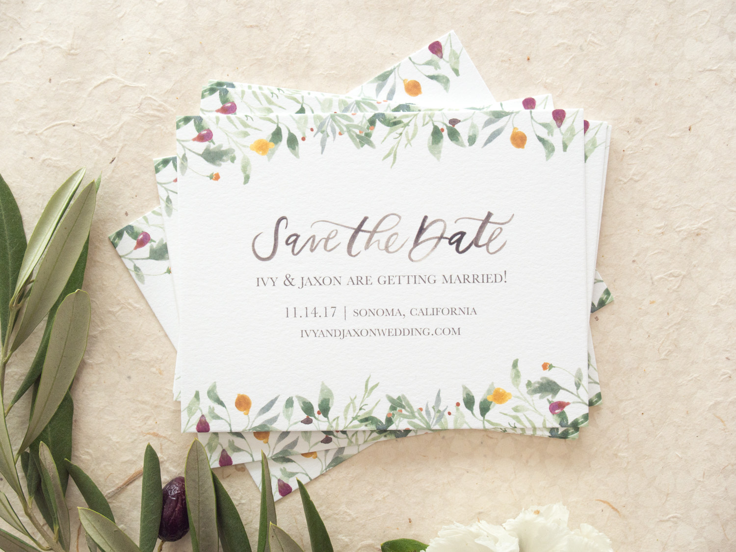 Watercolor Greenery Save the Date