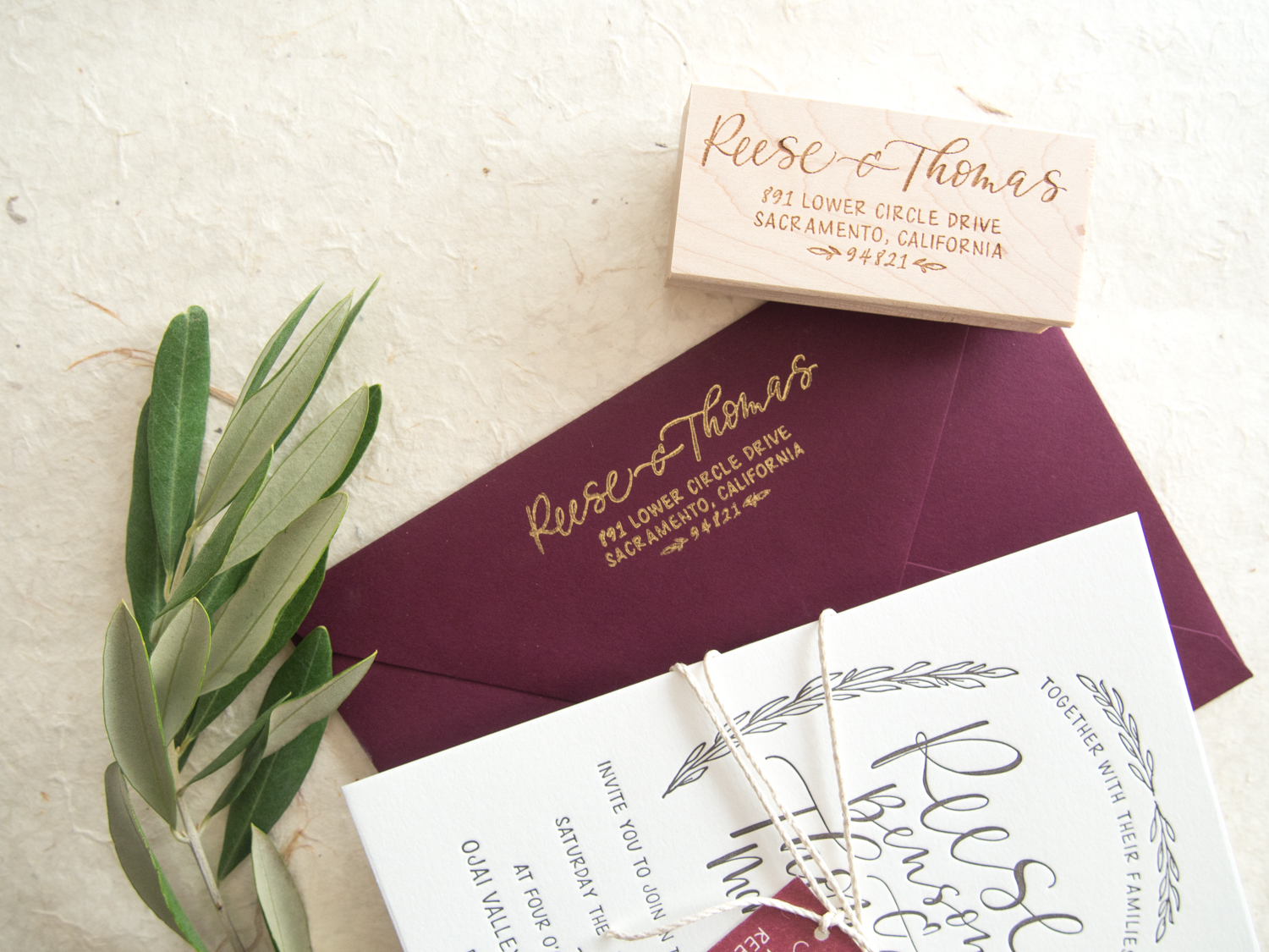 Rustic Return Address Stamp from Bright Room Studio