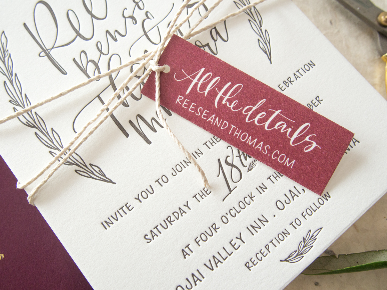 Rustic Wedding Invitation Details Tag from Bright Room Studio