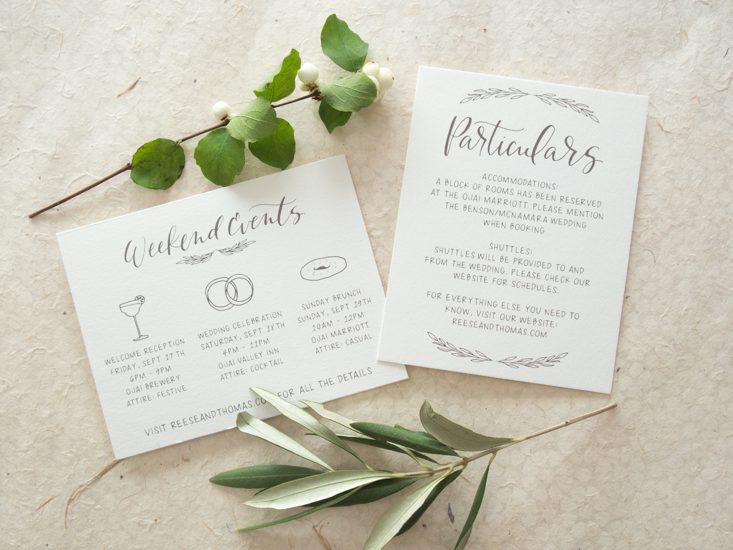 Rustic Wedding Invitations Weekend Events and Particulars Card from Bright Room Studio