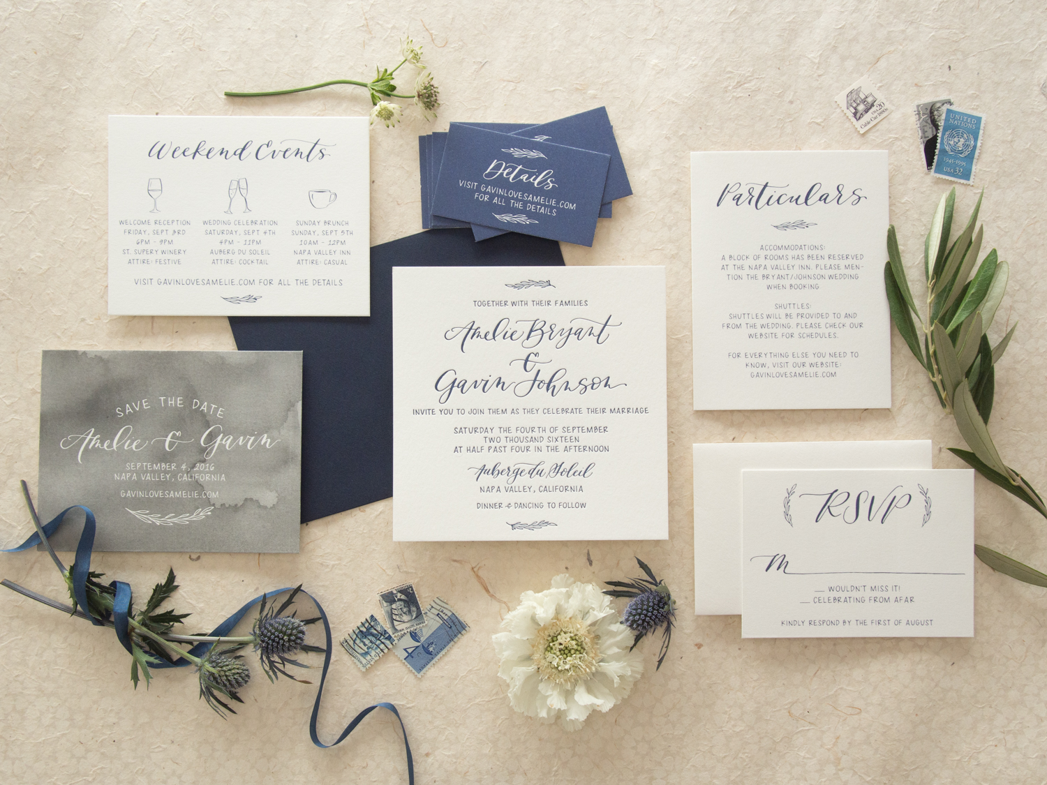Classic Navy Letterpress Wedding Invitation from Bright Room Studio