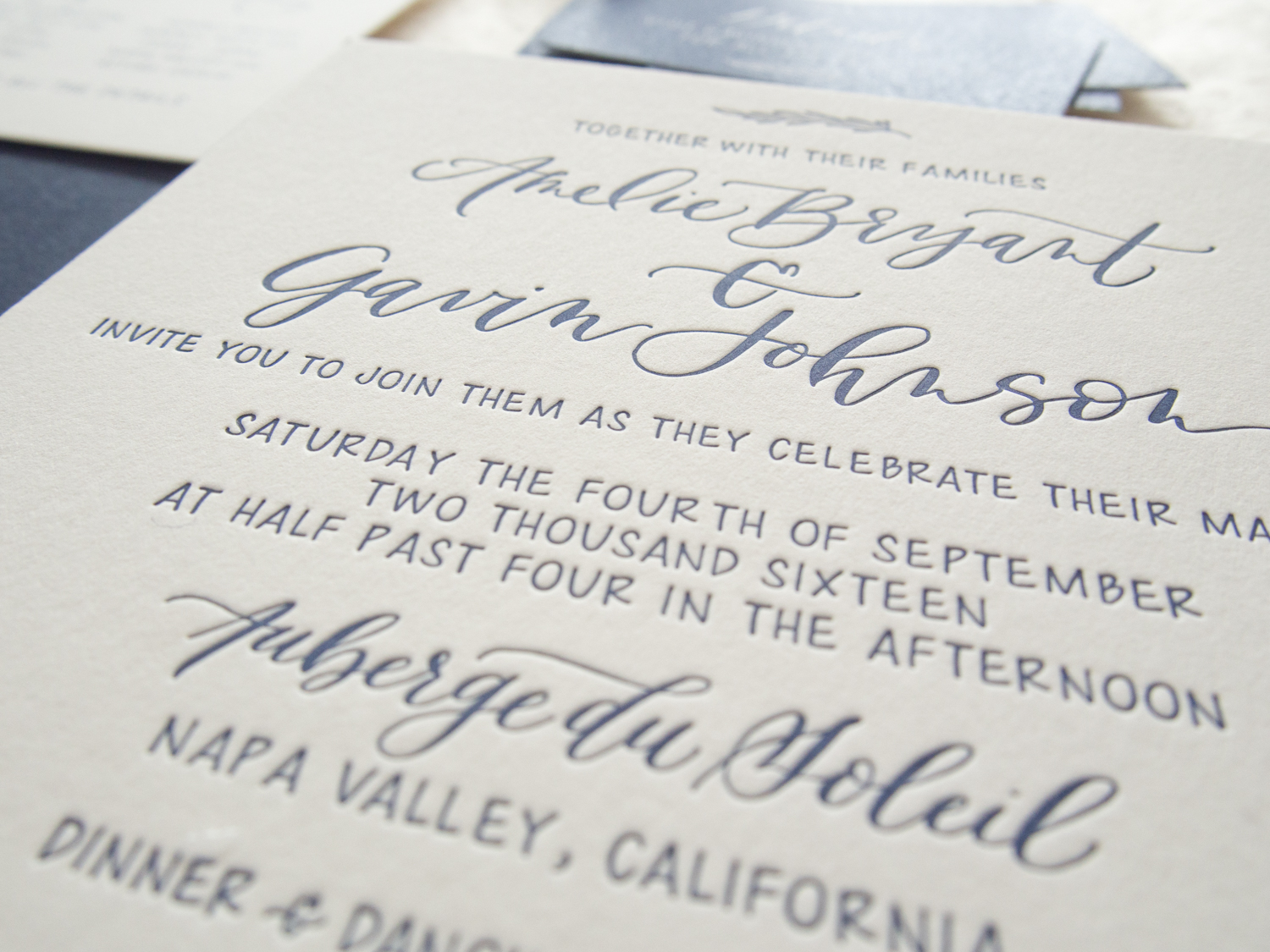 Classic Navy Letterpress Invitation Suite from Bright Room Studio