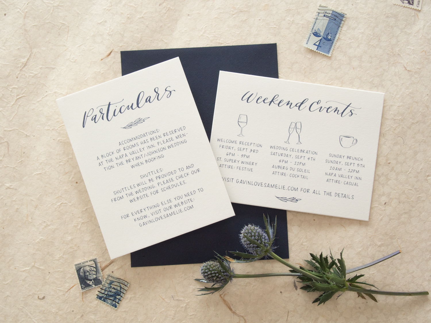Classic Navy Details Card Weekend Events Card from Bright Room Studio