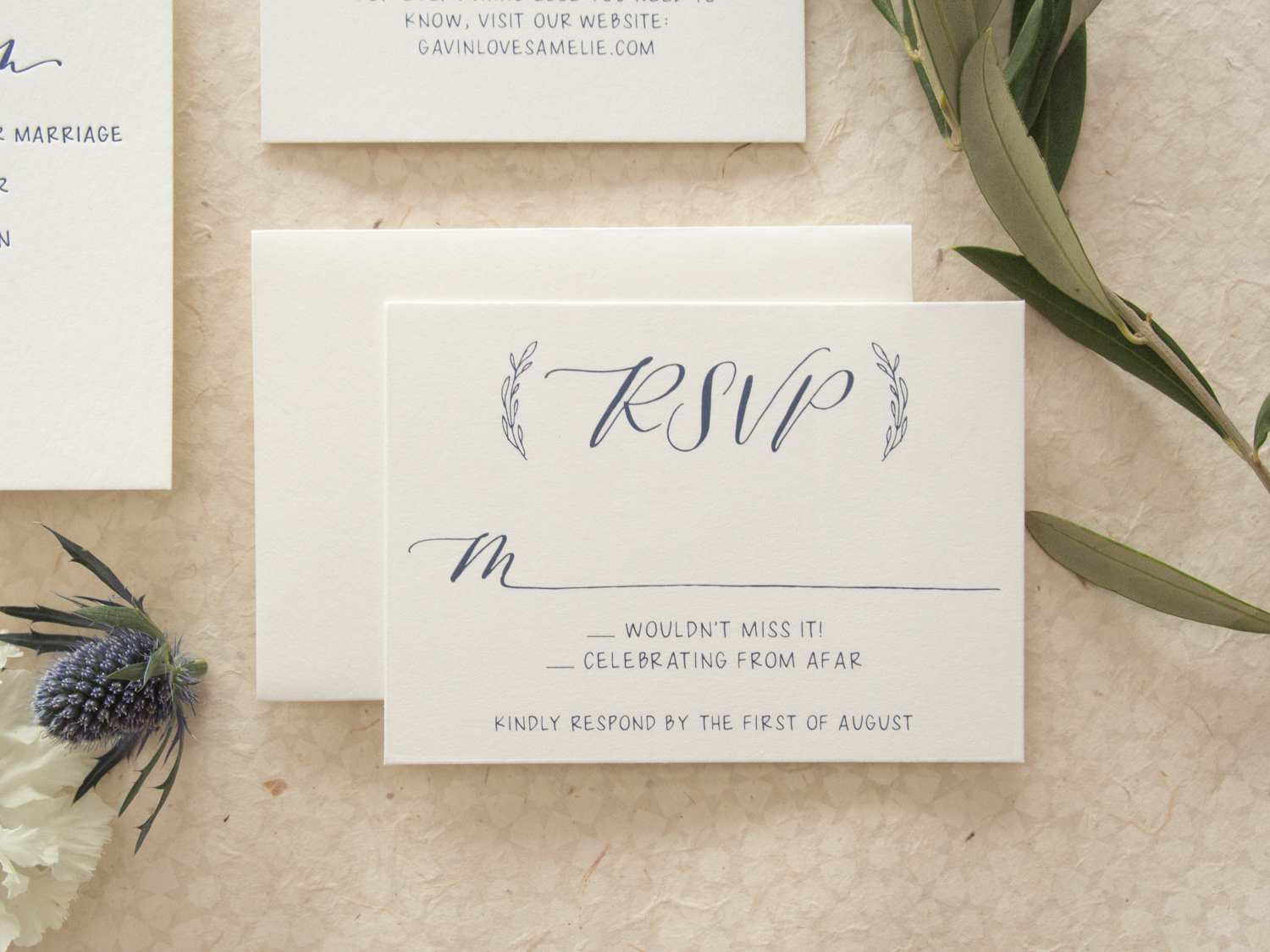 Classic Navy RSVP Reply Card from Bright Room Studio