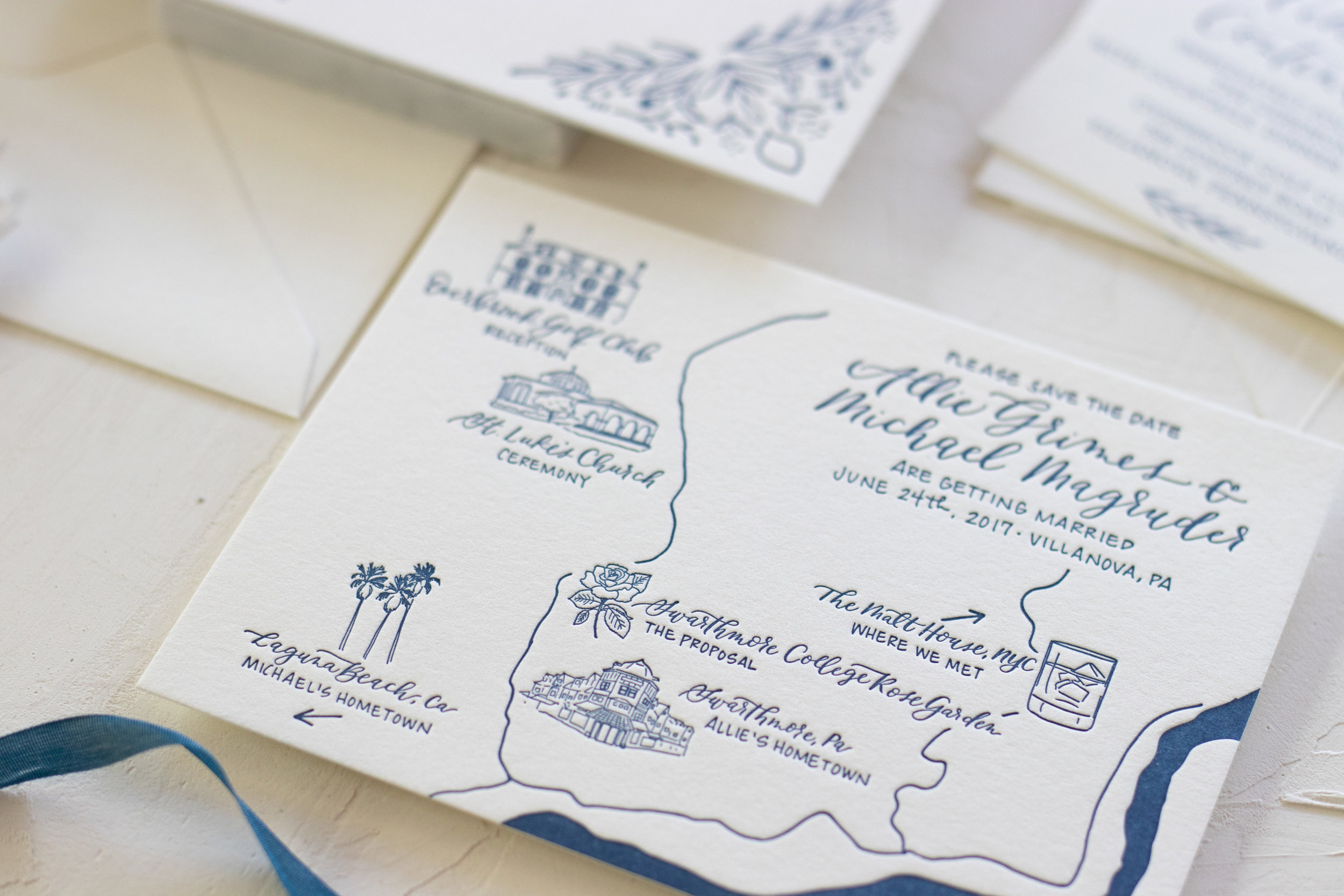 Simple Illustrated and Letterpressed Wedding Map