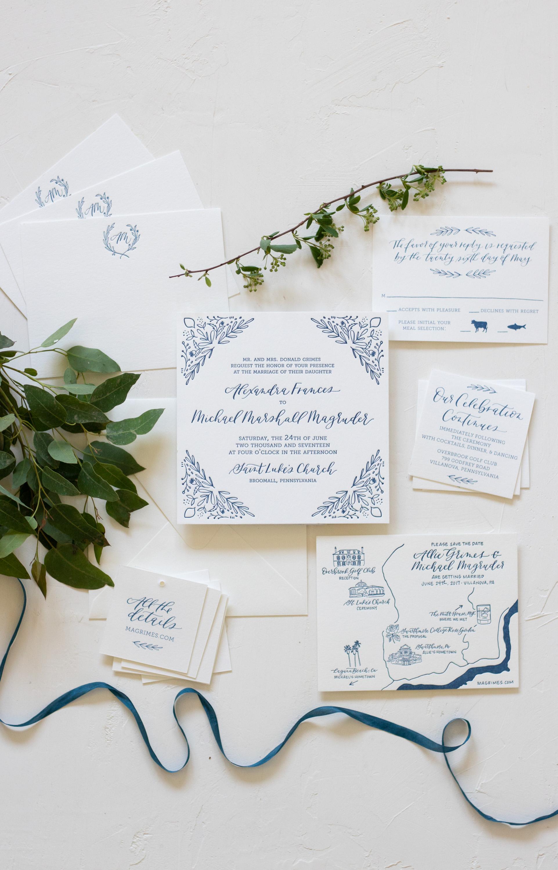 Sophisticated Blue Illustrated Wedding Invitation