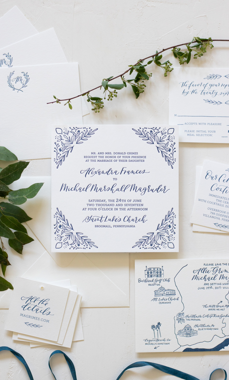 Elegant Illustrated Blue Wedding Invitation