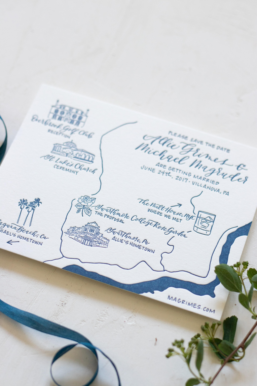 Letterpress Illustrated Wedding Map