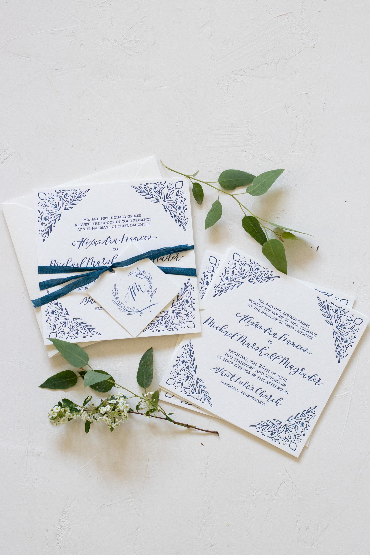 Cobalt Blue Illustrated Wedding Invitation