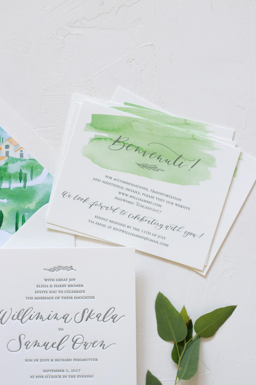 Unique Details Card for Italy Destination Wedding