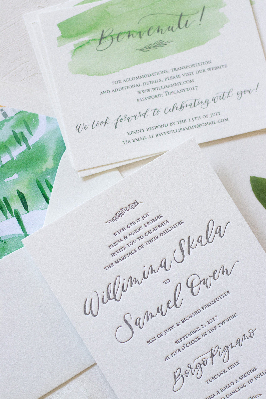 Classic Letterpress Wedding Invitation