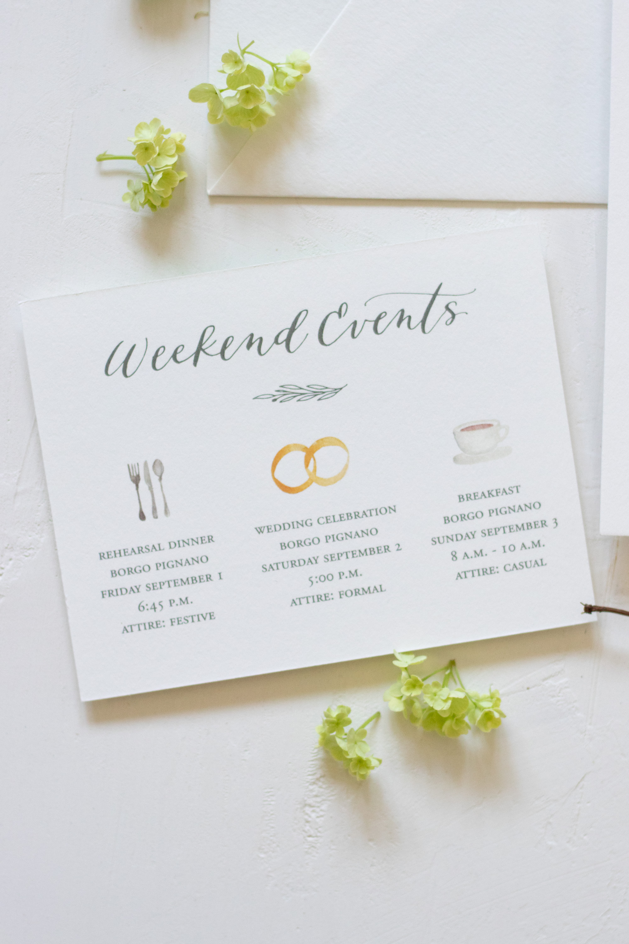 Weekend Events Card with Watercolor Illustrations